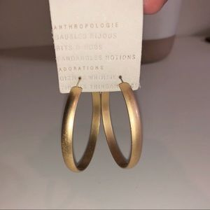 Anthropologie Gold Hoops Earrings Lightweight